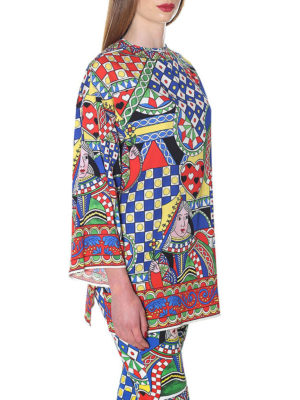 DOLCE & GABBANA: tuniche online - Blusa in seta stretch stampata