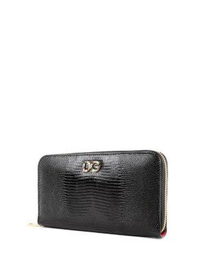 DOLCE & GABBANA: portafogli online - Portafoglio stampa iguana con logo gioiello