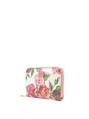 DOLCE & GABBANA: portafogli online - Portafoglio piccolo in pelle stampa Peonie