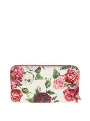 DOLCE & GABBANA: portafogli online - Portafoglio zip around in pelle stampa peonie