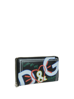 DOLCE & GABBANA: portafogli online - Portafoglio con zip pelle stampata