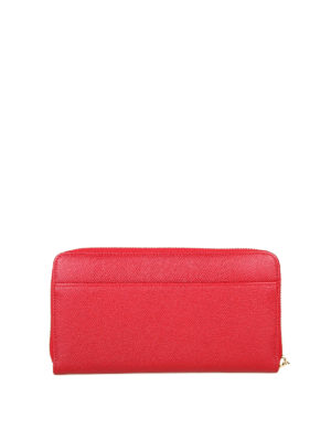 DOLCE & GABBANA: portafogli online - Portafoglio con zip in pelle Dauphine rossa