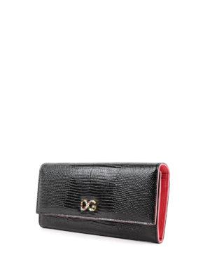 DOLCE & GABBANA: portafogli online - Portafoglio in pelle Dauphine stampa rettile