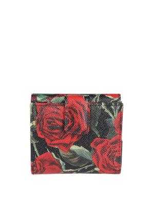 DOLCE & GABBANA: portafogli online - Portafoglio piccolo in pelle stampa rose