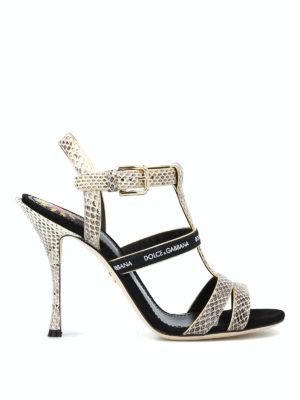 DOLCE & GABBANA: sandali - Sandali color roccia con nastro