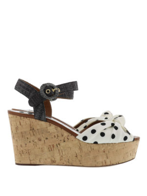 Dolce & Gabbana: sandals - Bianca polka dot wedge sandals