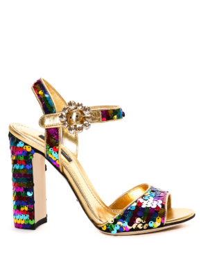 Dolce & Gabbana: sandals - Bianca sequined leather sandals