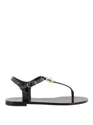 Dolce & Gabbana: sandals - Black patent thong logo sandals