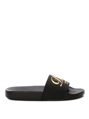 Dolce & Gabbana: sandals - Embroidered logo rubber slippers
