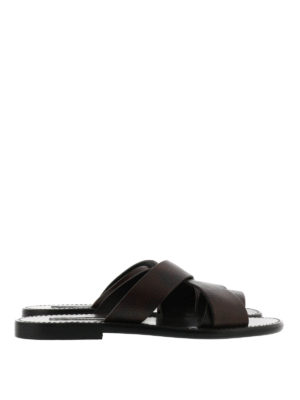 Dolce & Gabbana: sandals - Hammered leather sandals