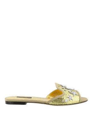 Dolce & Gabbana: sandals - Jewel gold-tone flat sandals