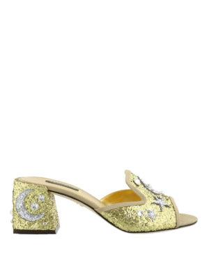 Dolce & Gabbana: sandals - Jewel gold-tone open toe sandals