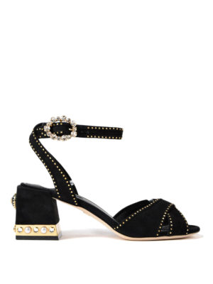 Dolce & Gabbana: sandals - Keira jewel suede sandals