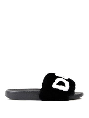 Dolce & Gabbana: sandals - Lapin fur logo slide sandals