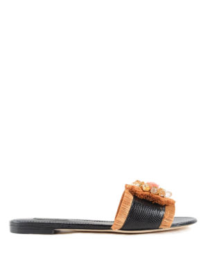 Dolce & Gabbana: sandals - Leather and straw jewel sandals