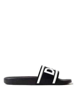 Dolce & Gabbana: sandals - Logo print black leather slides