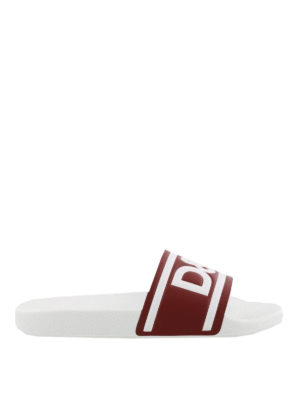 Dolce & Gabbana: sandals - Logo print leather slides