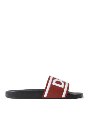 Dolce & Gabbana: sandals - Logo print red leather slides