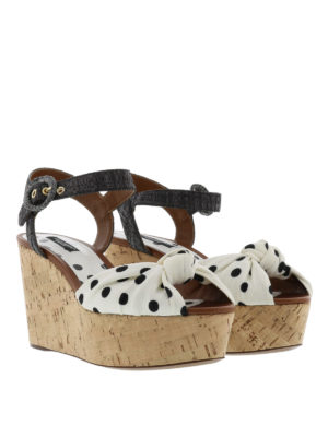 Dolce & Gabbana: sandals online - Bianca polka dot wedge sandals
