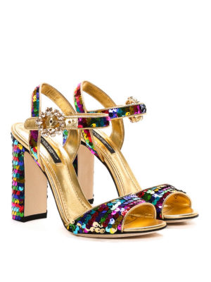 Dolce & Gabbana: sandals online - Bianca sequined leather sandals