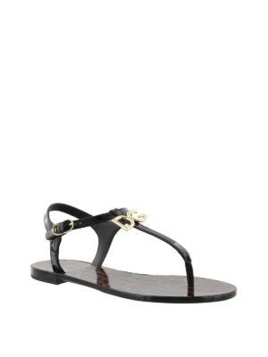 Dolce & Gabbana: sandals online - Black patent thong logo sandals