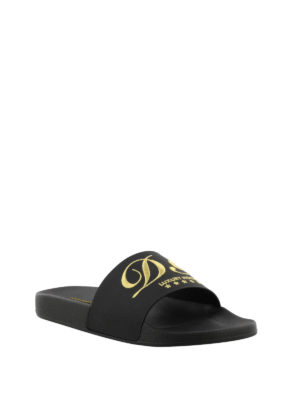 Dolce & Gabbana: sandals online - Embroidered black slide sandals
