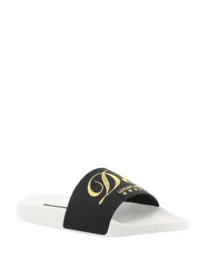 Dolce & Gabbana: sandals online - Embroidered leather slide sandals