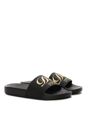 Dolce & Gabbana: sandals online - Embroidered logo rubber slippers