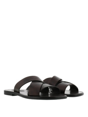 Dolce & Gabbana: sandals online - Hammered leather sandals