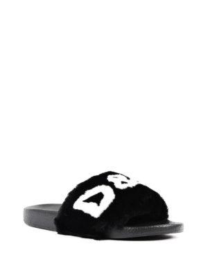Dolce & Gabbana: sandals online - Lapin fur logo slide sandals