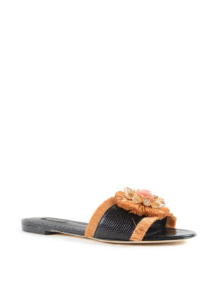Dolce & Gabbana: sandals online - Leather and straw jewel sandals