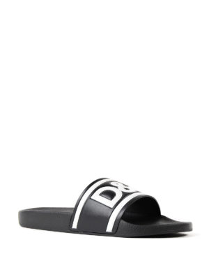 Dolce & Gabbana: sandals online - Logo print black leather slides