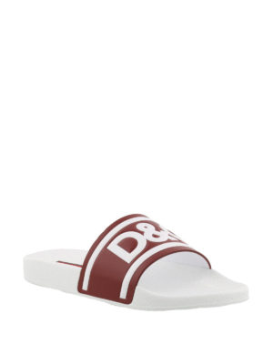 Dolce & Gabbana: sandals online - Logo print leather slides