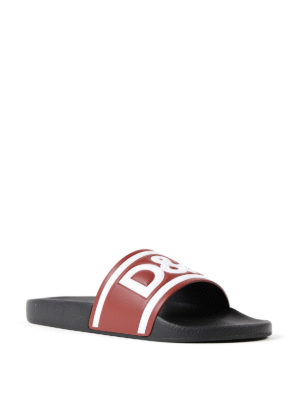 Dolce & Gabbana: sandals online - Logo print red leather slides