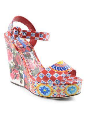 Dolce & Gabbana: sandals online - Mambo print patent wedge sandals