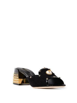 Dolce & Gabbana: sandals online - Pearl open toe suede sandals