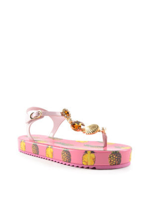 Dolce & Gabbana: sandals online - Pineapple print rubber sandals