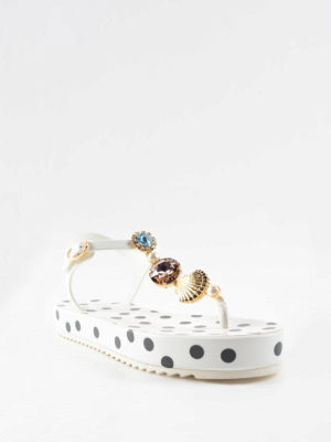 Dolce & Gabbana: sandals online - Polka dot print rubber sandals