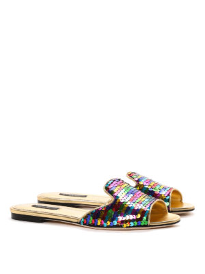 Dolce & Gabbana: sandals online - Sequinned leather slippers
