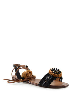 Dolce & Gabbana: sandals online - Straw embellished leather sandals