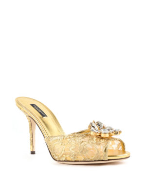 Dolce & Gabbana: sandals online - Taormina lace jewel sandals