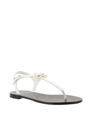 Dolce & Gabbana: sandals online - White patent logo thong sandals