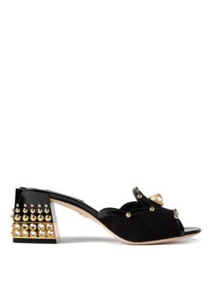 Dolce & Gabbana: sandals - Pearl open toe suede sandals
