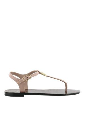 Dolce & Gabbana: sandals - Pink patent logo thong sandals