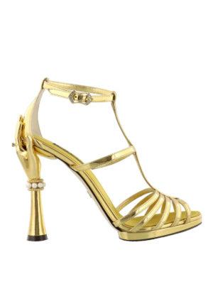 DOLCE & GABBANA: sandali - Sandali a specchio tacco scultura