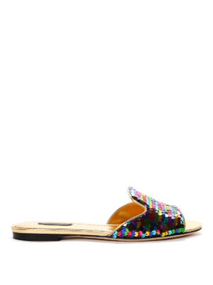 Dolce & Gabbana: sandals - Sequinned leather slippers