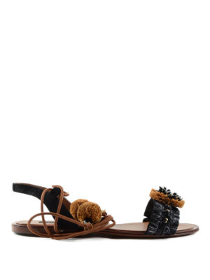 Dolce & Gabbana: sandals - Straw embellished leather sandals