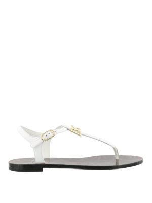 Dolce & Gabbana: sandals - White patent logo thong sandals