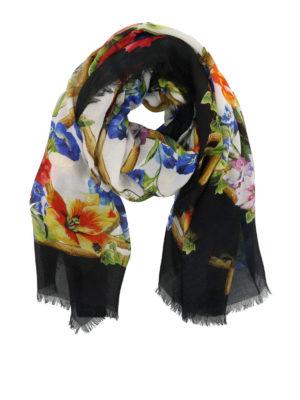 DOLCE & GABBANA: sciarpe e foulard - Sciarpa in modal con fiori e tigre