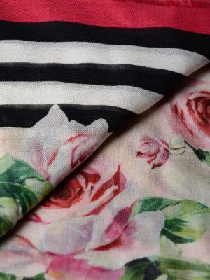 Dolce & Gabbana: scarves online - Rose striped cashmere blend scarf